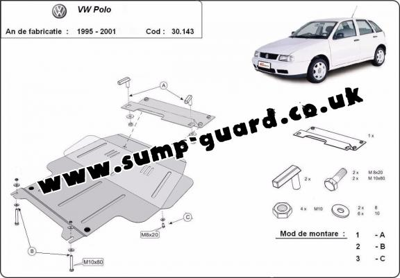 Steel sump guard for Volkswagen Polo - 6N, 6N1, 6K, Classic, Variant