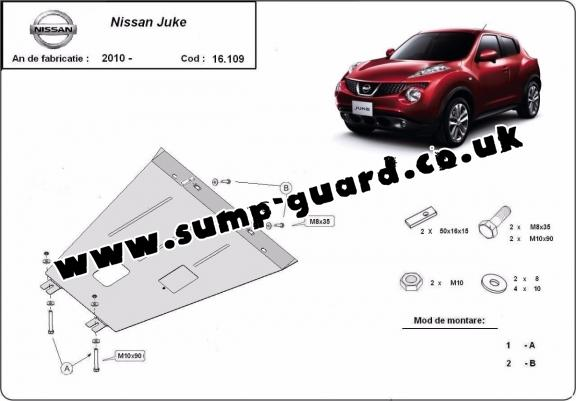 Steel sump guard for Nissan Juke