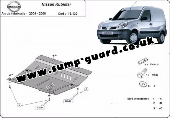 Steel sump guard for Nissan Kubistar