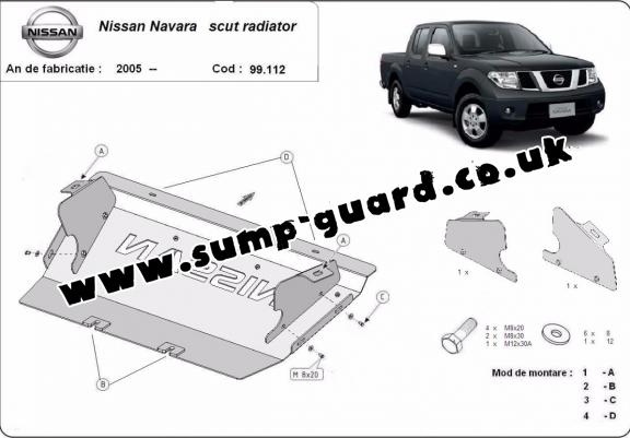 Steel radiator guard for Nissan Navara