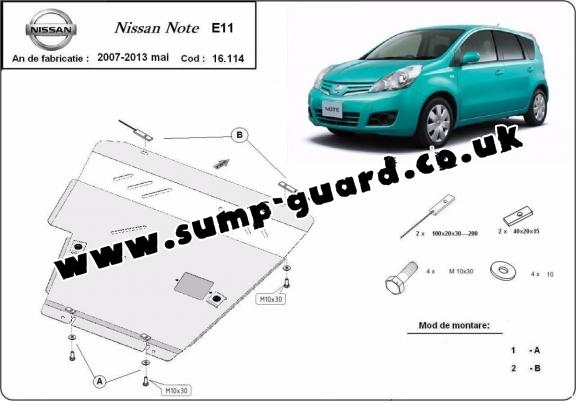 Steel sump guard for Nissan Note