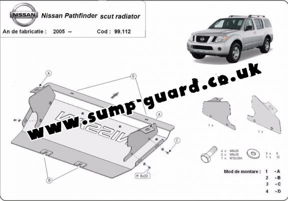 Steel radiator guard for Nissan Pathfinder