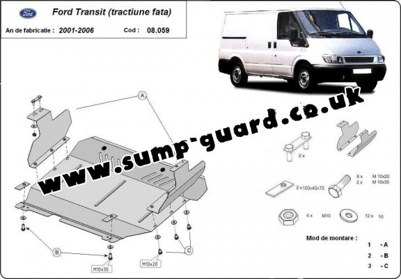 Steel sump guard for the protection of the engine and the gearbox for Ford Transit - FWD
