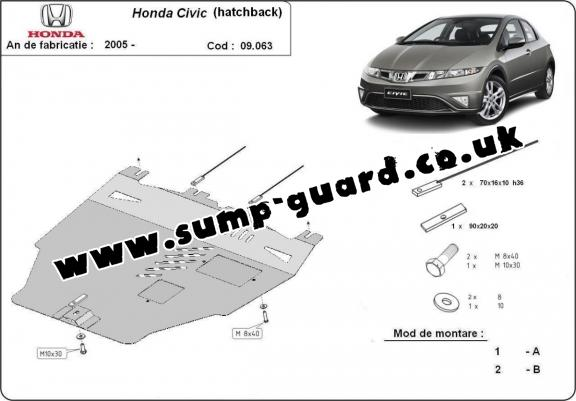 Steel sump guard for Honda Civic (hayon)
