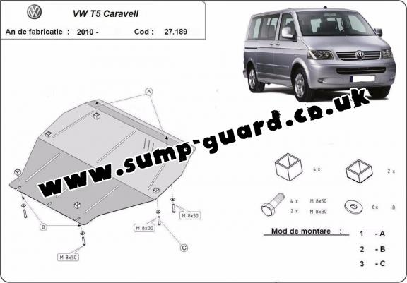 Steel sump guard for Volkswagen Caravell T5