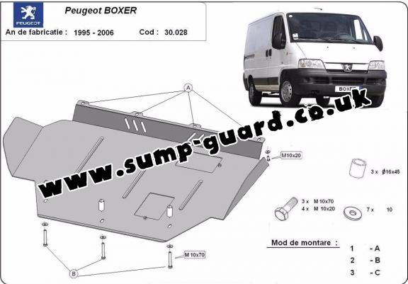 Steel sump guard for Peugeot Boxer