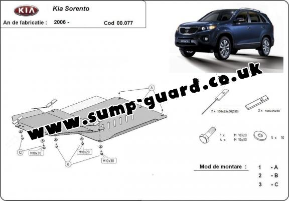 Steel gearbox and differential guard for  Kia Sorento