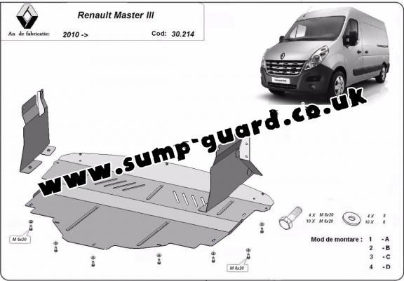 Steel sump guard for Renault Master 3