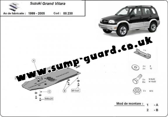 Steel gearbox guard for Suzuki Grand Vitara XL7