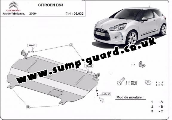 Steel sump guard for Citroen DS3