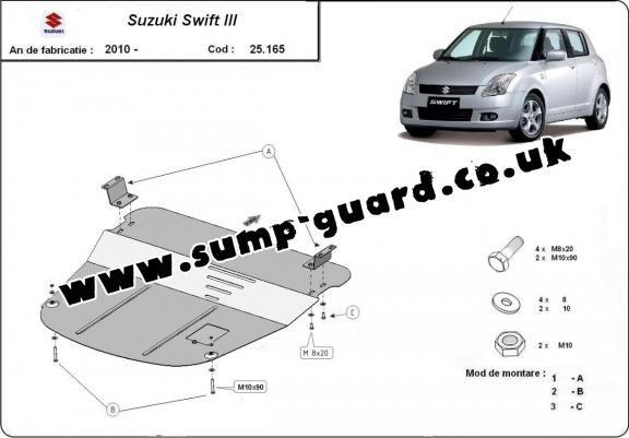 Steel sump guard for Suzuki Swift 3