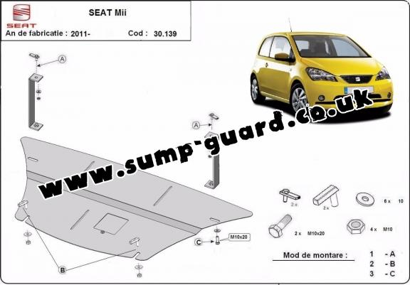 Steel sump guard for the protection of the engine and the gearbox for Seat Mii