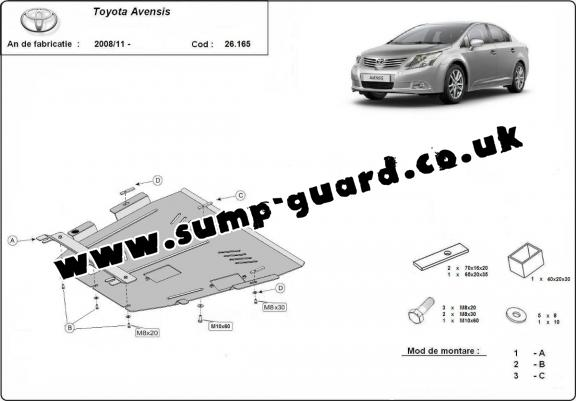 Steel sump guard for Toyota Avensis