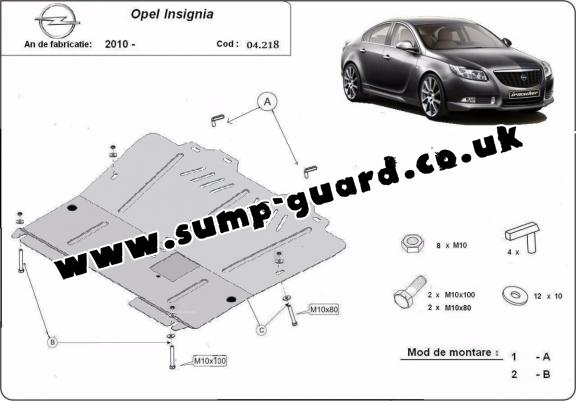 Steel sump guard for Vauxhall Insignia