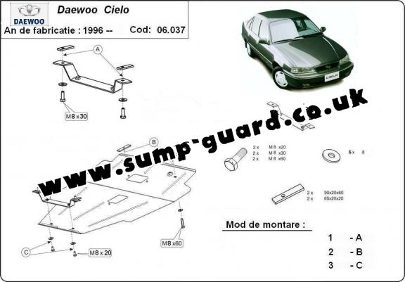 Steel sump guard for Daewoo Cielo
