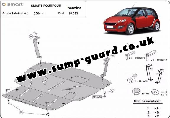 Steel sump guard for the protection of the engine and the gearbox for Smart FourFour petrol