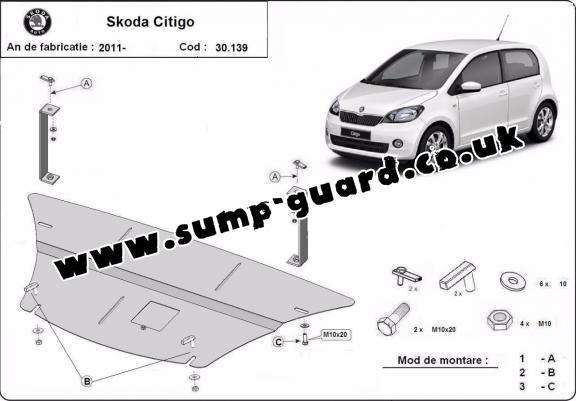 Steel sump guard for the protection of the engine and the gearbox for Skoda Citigo