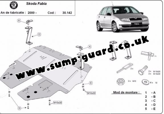 Steel sump guard for Skoda Fabia 1