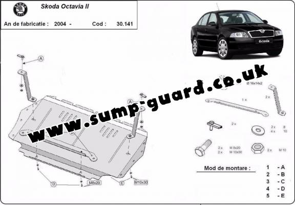 Steel sump guard for Skoda Octavia 2