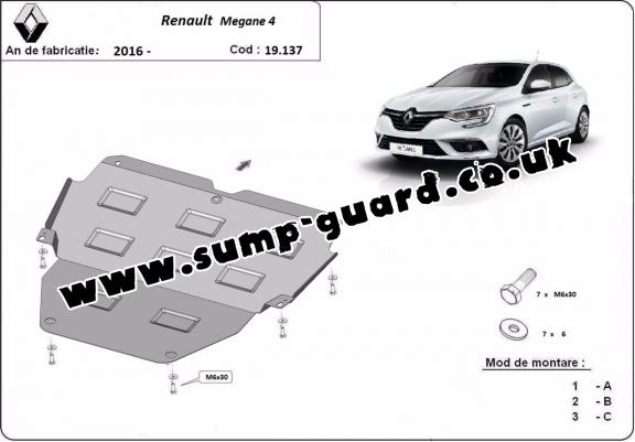 Steel sump guard for Renault Megane 4