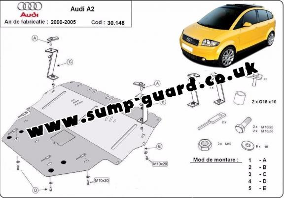 Steel sump guard for Audi A2
