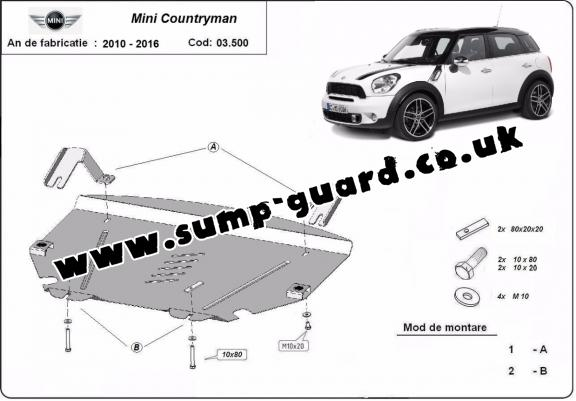 Steel sump guard for Mini Cooper Countryman