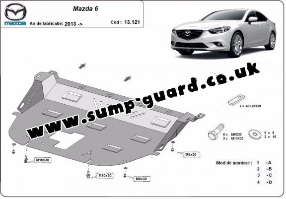 Steel sump guard for Mazda 6