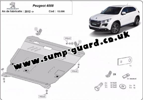 Steel sump guard for Peugeot 4008