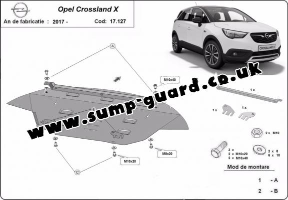Steel sump guard for Vauxhall Crossland X