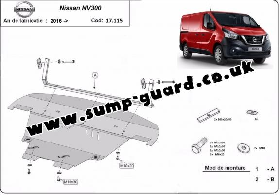 Steel sump guard for Nissan NV300
