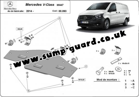 Steel sump guard for the protection of the Stop&Go system Mercedes V-Classe W447, 4x2, 1.6 D