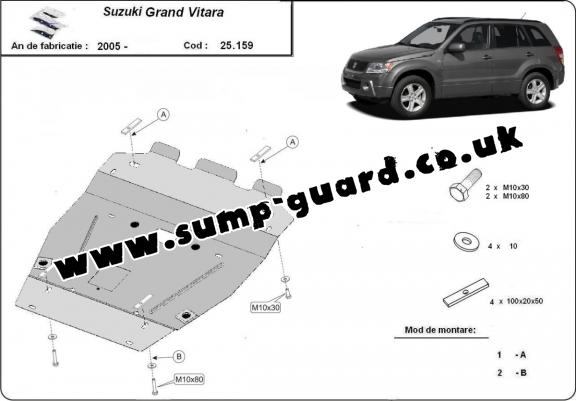 Steel sump guard for Suzuki Grand Vitara XL7