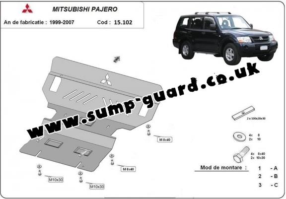 Steel sump guard for the protection of the engine and the radiator for Mitsubishi Shogun 3 (V60, V70)