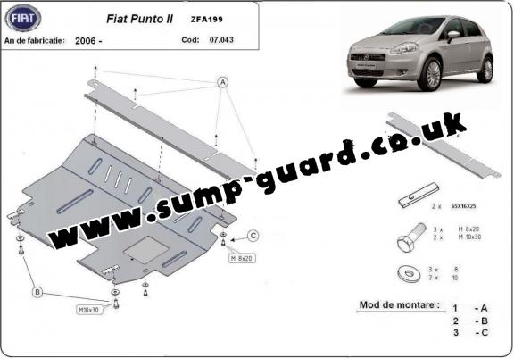 Steel sump guard for Fiat Punto 2