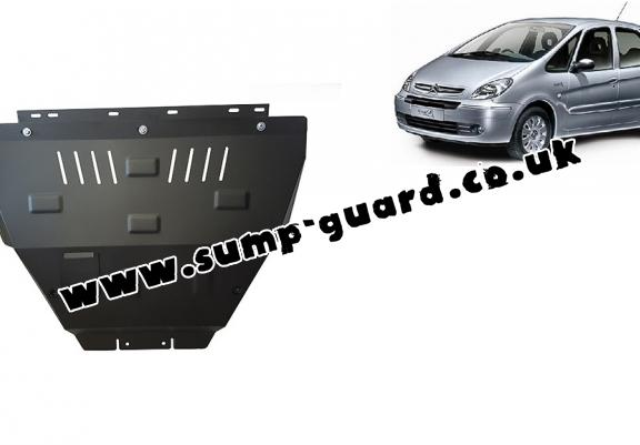Steel sump guard for the protection of the engine and the gearbox for Citroen Xsara Picasso