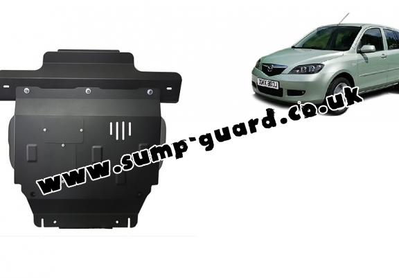 Steel sump guard for the protection of the engine and the gearbox for Mazda 2