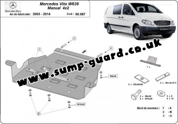 Steel gearbox guard for Mercedes Vito W639 - 2.2 D 4x2