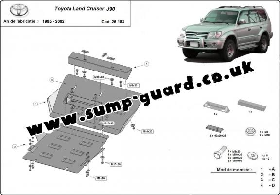 Steel sump guard for Toyota Land Cruiser J90