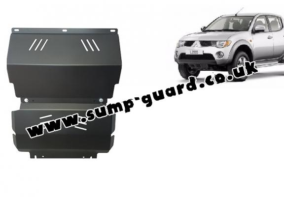 Steel sump guard for the protection of the engine and the radiator for Mitsubishi L 200