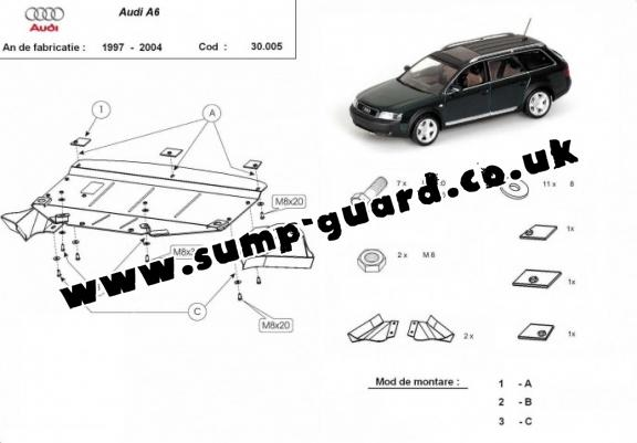 Steel sump guard for Audi A6
