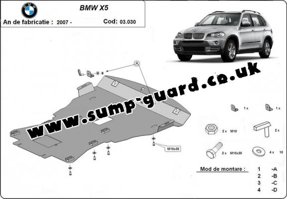 Steel sump guard for BMW X5