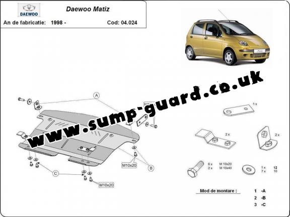 Steel sump guard for Daewoo Matiz