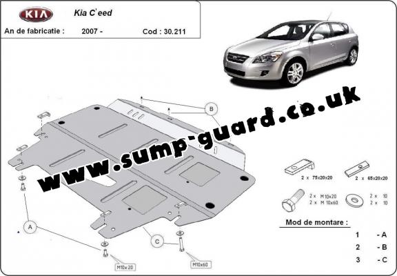 Steel sump guard for Kia Ceed