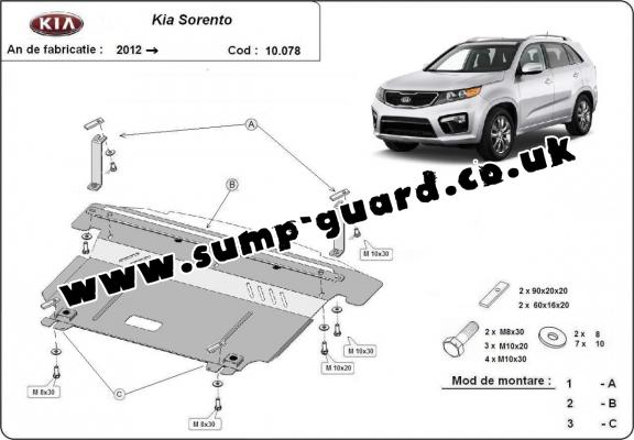 Steel sump guard for Kia Sorento