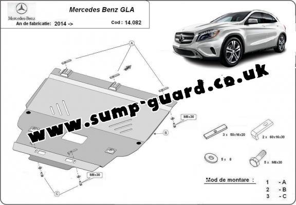 Steel sump guard for Mercedes GLA X156