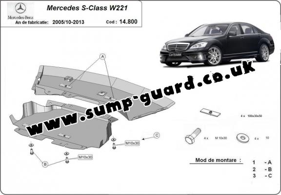 Steel sump guard for Mercedes S-Classe W221