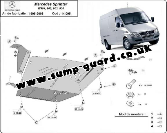Steel sump guard for Mercedes Sprinter