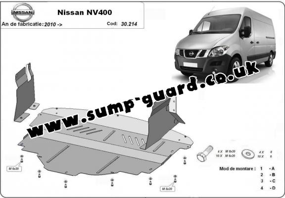 Steel sump guard for Nissan NV400