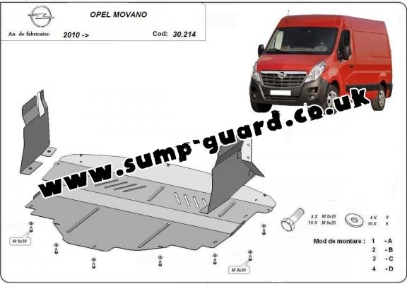 Steel sump guard for Vauxhall Movano