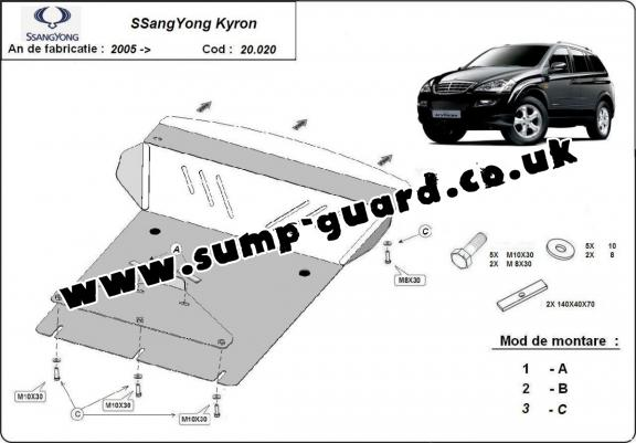 Steel sump guard for SsangYong Kyron